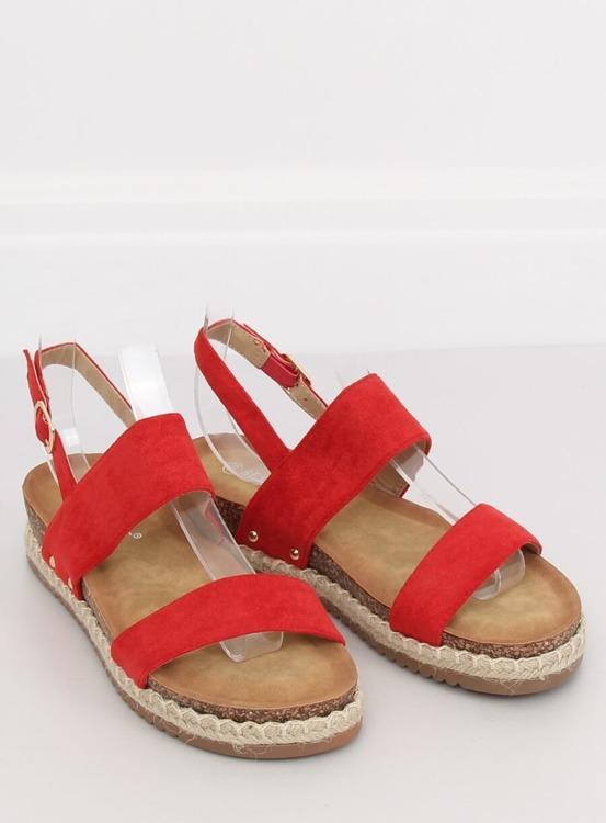 Sandałki na korkowej podeszwie czerwone CH-118 RED