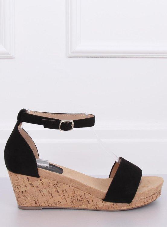 Sandałki na korkowym koturnie czarne LL-228P BLACK