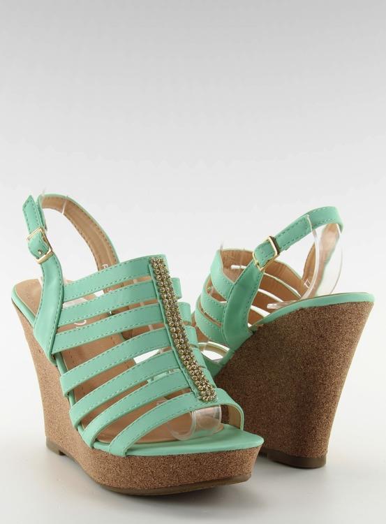 Sandałki na koturnie FA77 Green