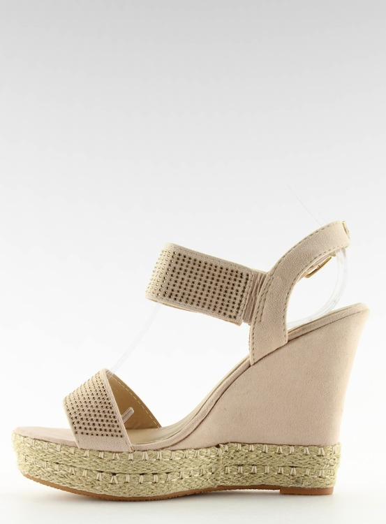 Sandałki na koturnie beżowe 3811-7 BEIGE