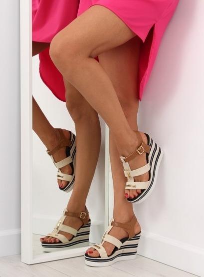 Sandałki na koturnie beżowe YQ05 BEIGE