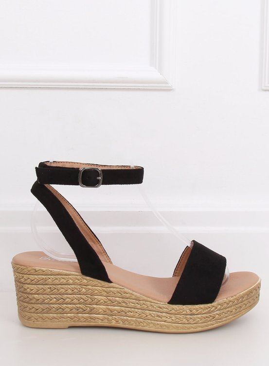 Sandałki na koturnie czarne 019-18 BLACK