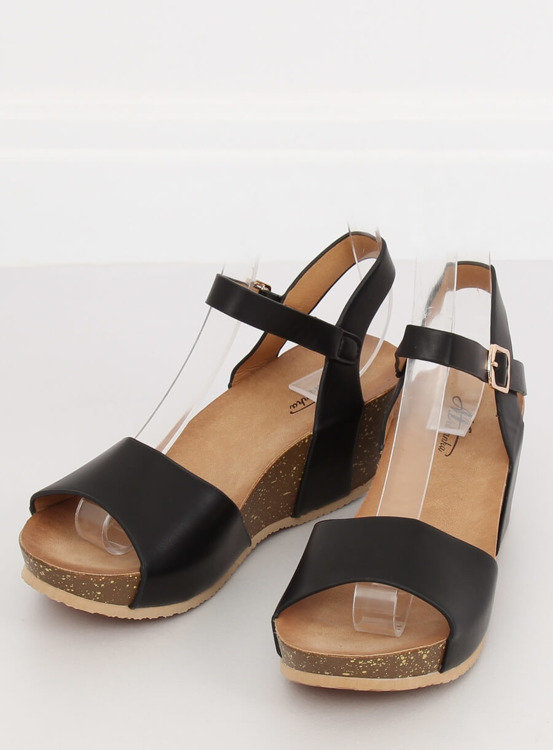 Sandałki na koturnie czarne 1052 BLACK