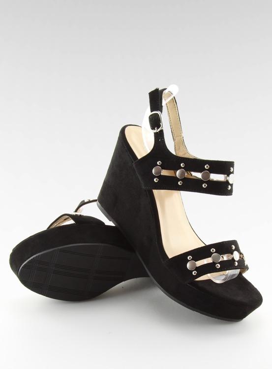 Sandałki na koturnie czarne 1606 BLACK
