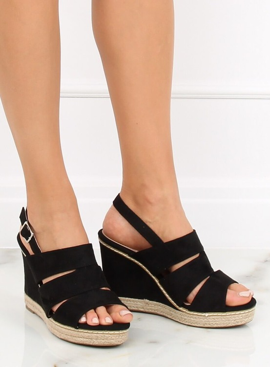 Sandałki na koturnie czarne 9069 BLACK