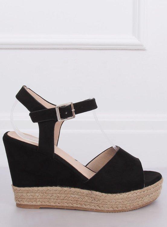 Sandałki na koturnie czarne 9R195 BLACK