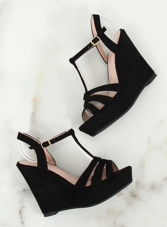 Sandałki na koturnie czarne A208 BLACK