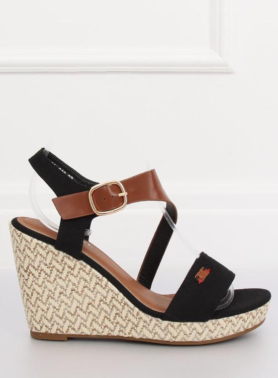 Sandałki na koturnie czarne BL-360 BLACK