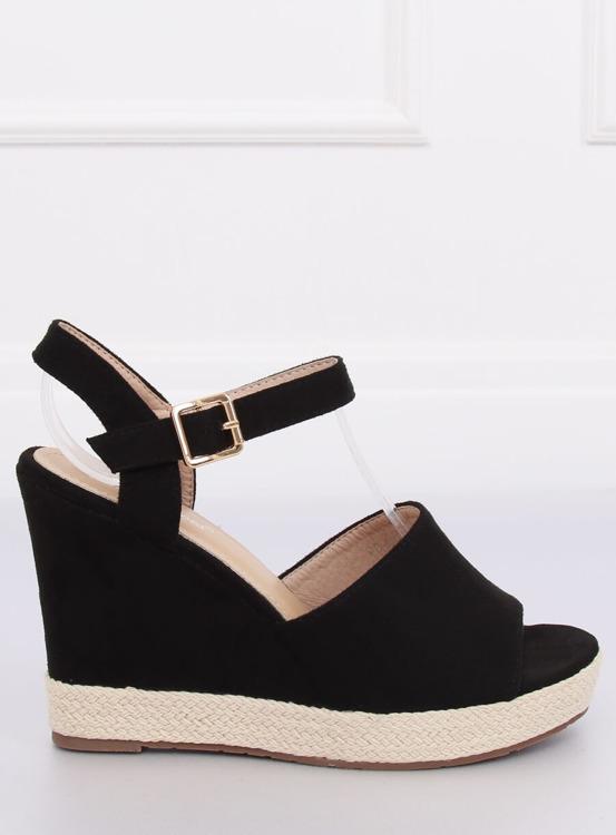 Sandałki na koturnie czarne FD-5M14 BLACK