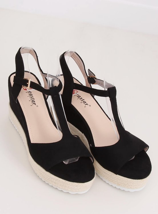 Sandałki na koturnie czarne GG-60P BLACK