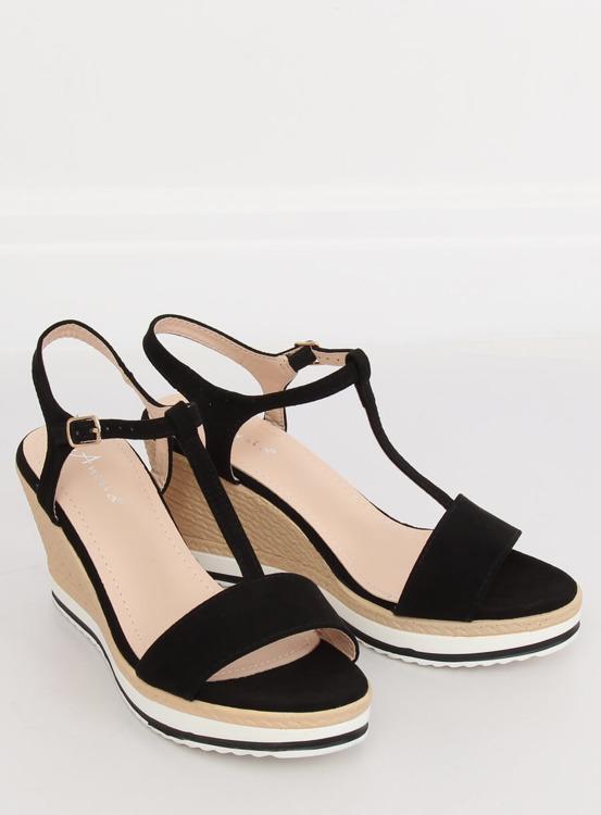 Sandałki na koturnie czarne H-59 BLACK