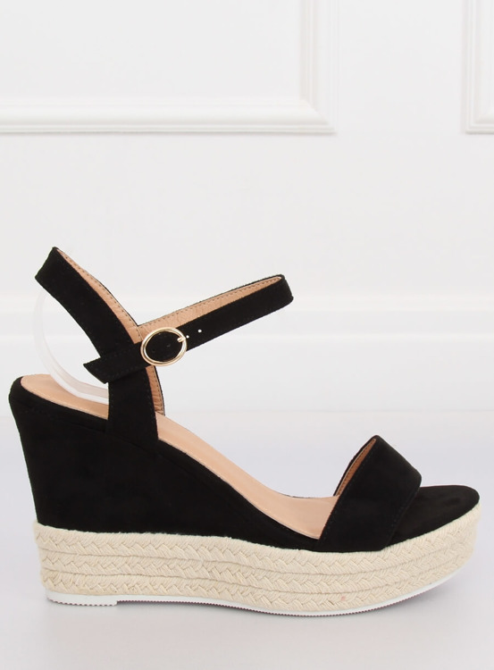 Sandałki na koturnie czarne JS-2952 BLACK