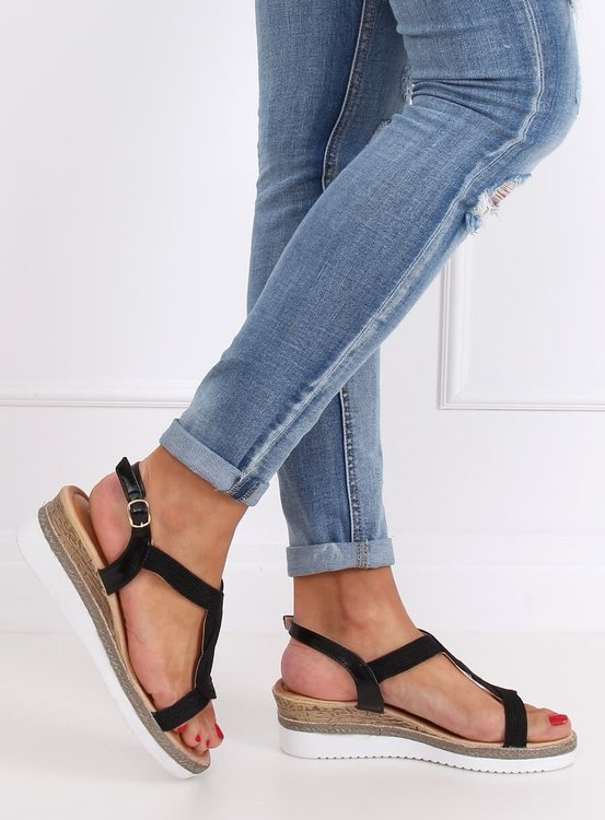 Sandałki na koturnie czarne L6629 BLACK