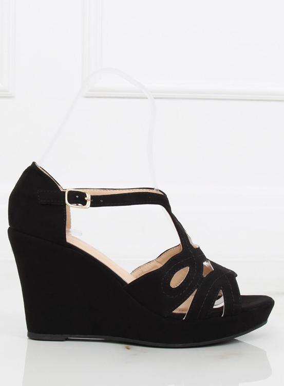 Sandałki na koturnie czarne LM-002 BLACK