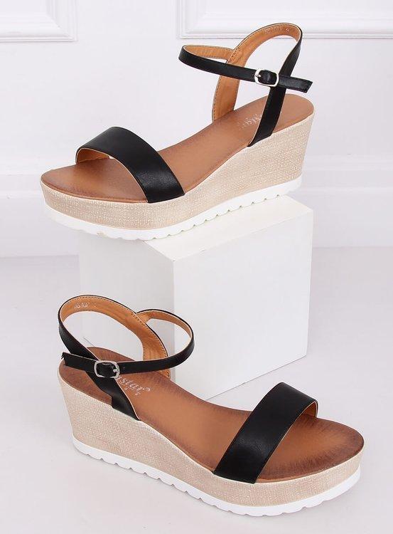 Sandałki na koturnie czarne NS107P BLACK