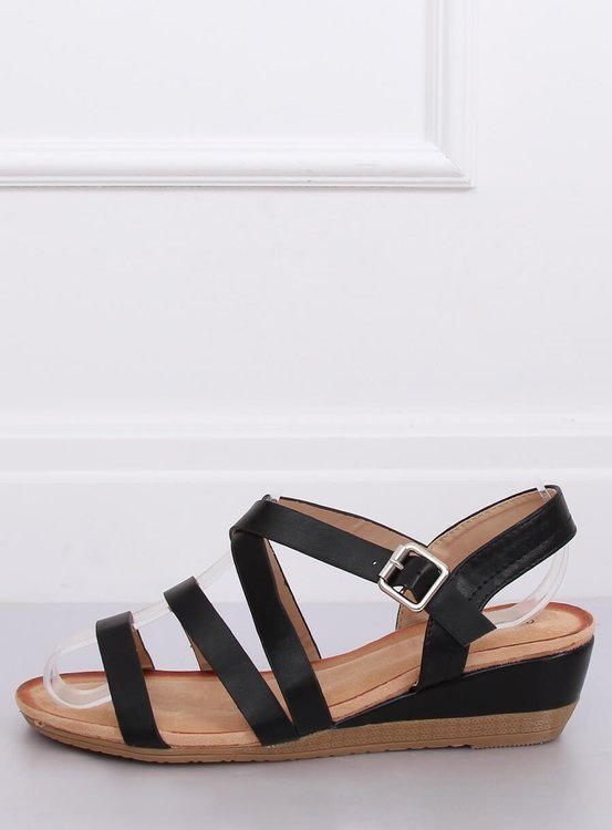 Sandałki na koturnie czarne S060064 BLACK