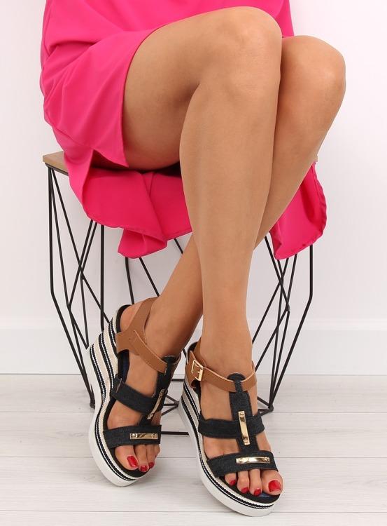 Sandałki na koturnie czarne YQ05 BLACK