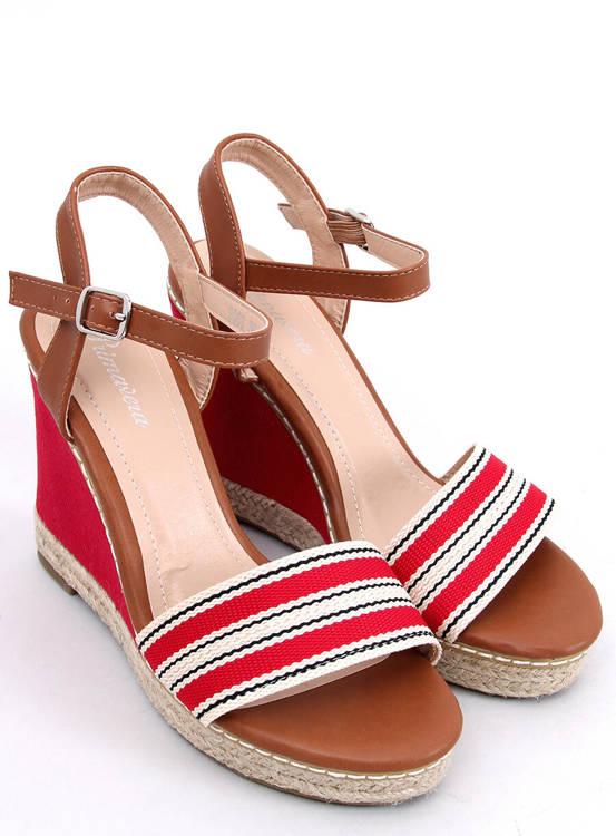 Sandałki na koturnie czerwone 9068 RED