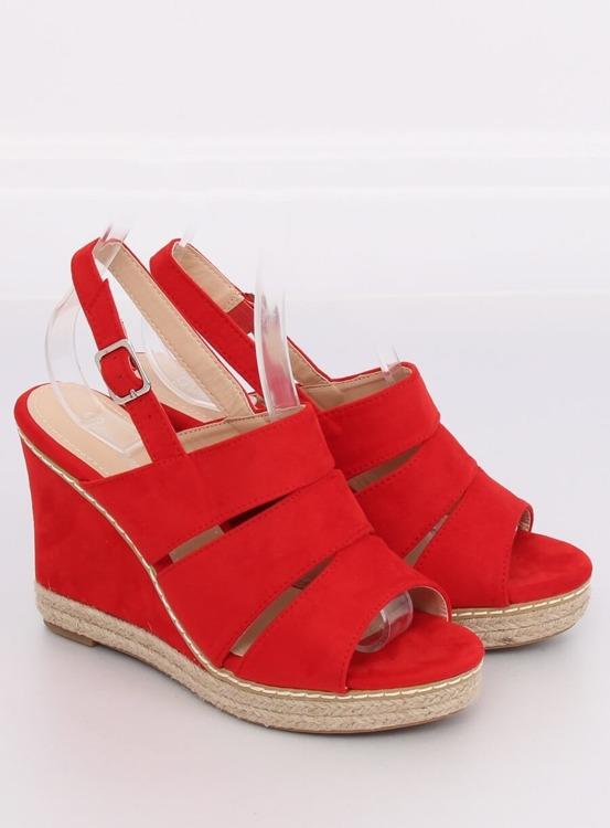 Sandałki na koturnie czerwone 9069 RED