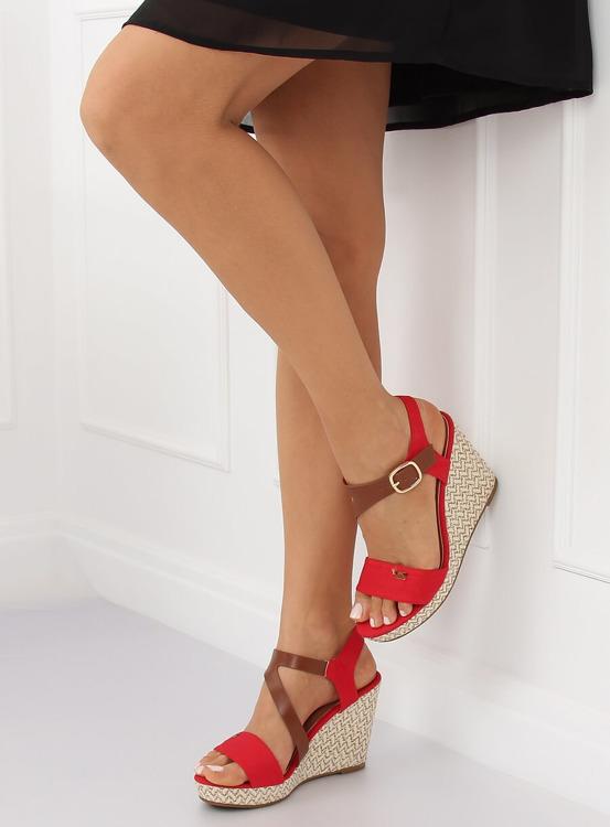 Sandałki na koturnie czerwone BL-360 RED