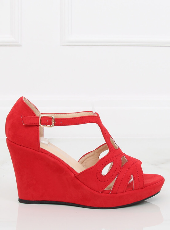Sandałki na koturnie czerwone LM-002 RED