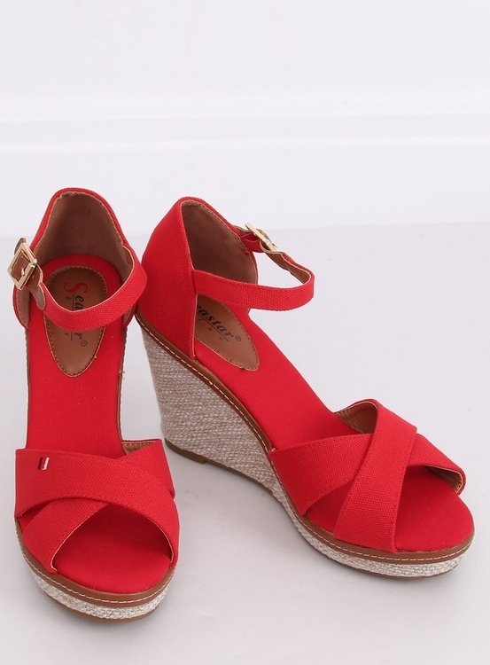 Sandałki na koturnie czerwone R133P RED