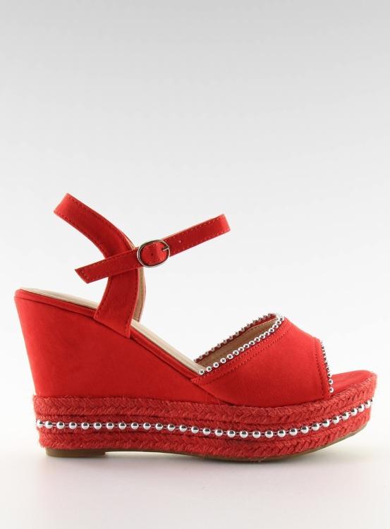 Sandałki na koturnie czerwone U-6272 RED