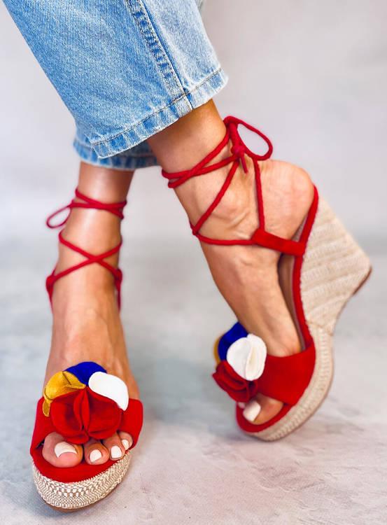 Sandałki na koturnie czerwone YY27P RED