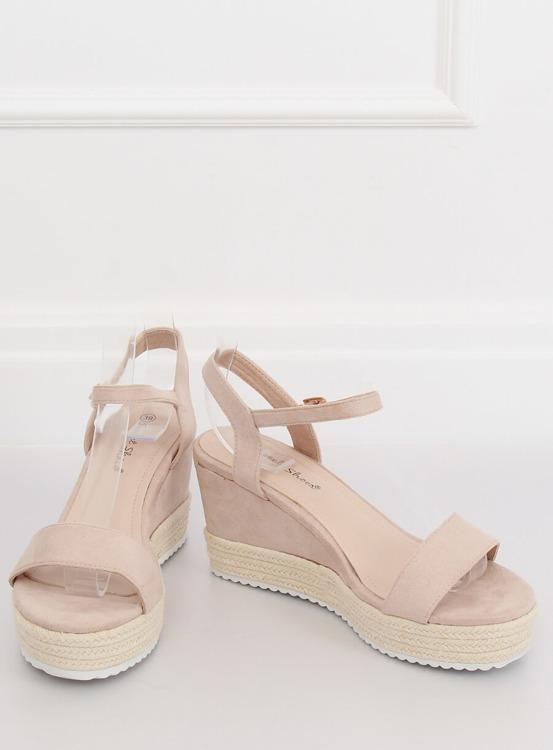 Sandałki na koturnie espadryle beżowe LY9109 BEIGE