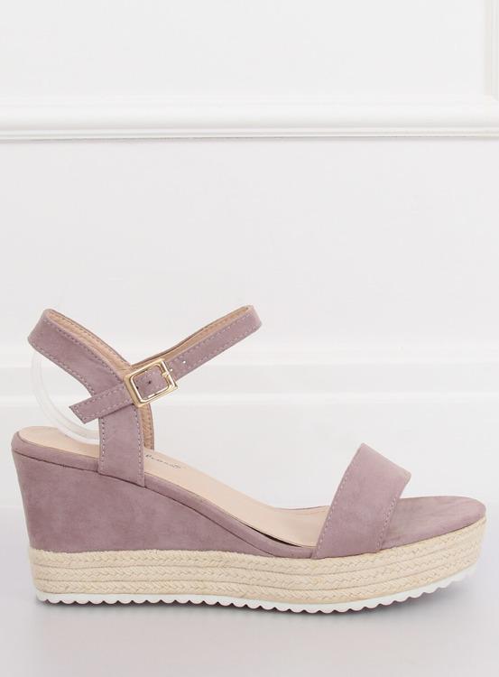 Sandałki na koturnie espadryle fioletowe LY9109 PURPLE