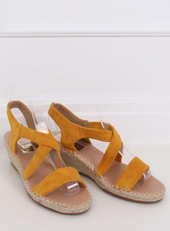 Sandałki na koturnie espadryle miodowe S-823 YELLOW