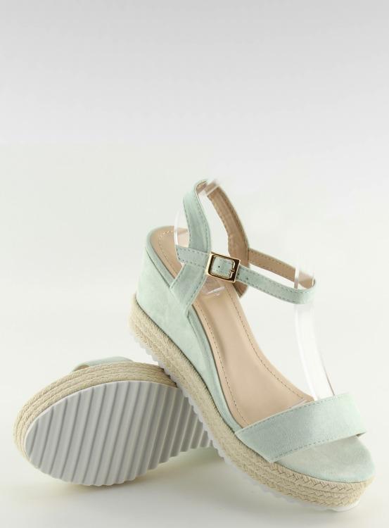 Sandałki na koturnie espadryle seledynowe R120P L.GREEN