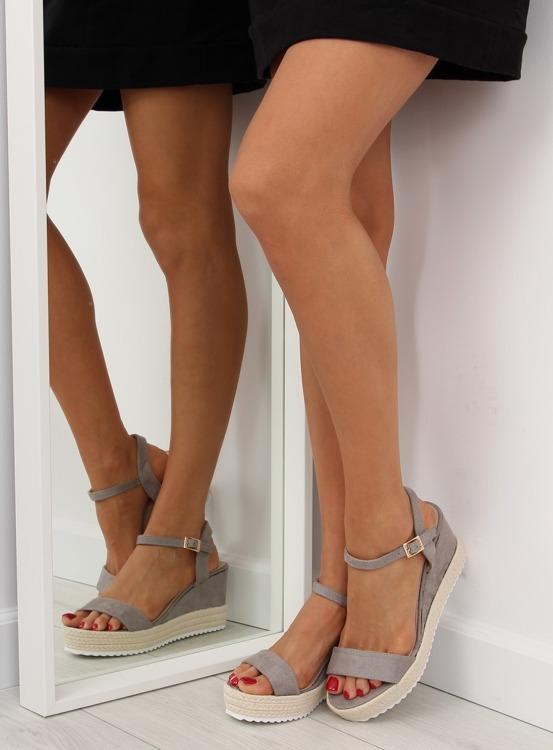 Sandałki na koturnie espadryle szare R120P GREY