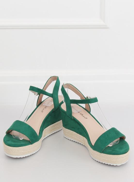 Sandałki na koturnie espadryle zielone LY9109 GREEN