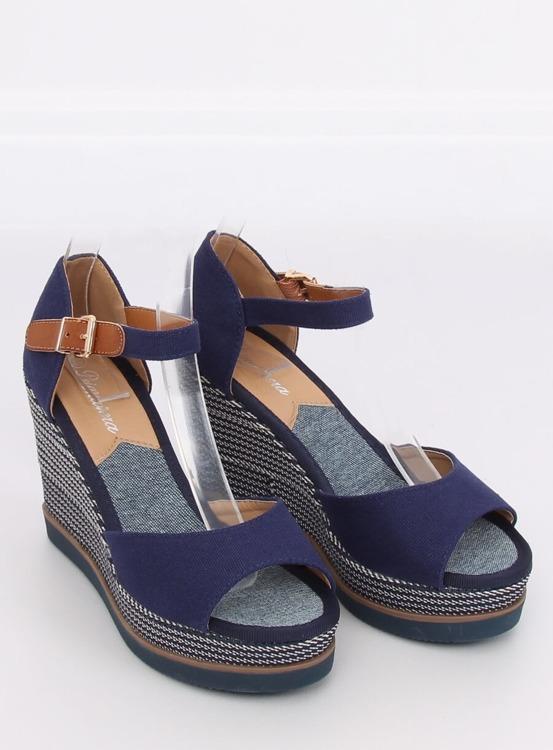 Sandałki na koturnie granatowe 9079 BLUE