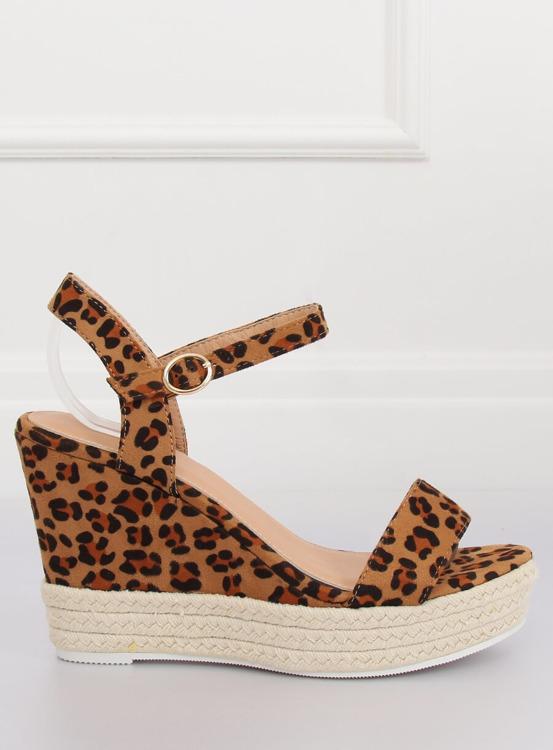 Sandałki na koturnie leopard JS-2952 LEOPARD