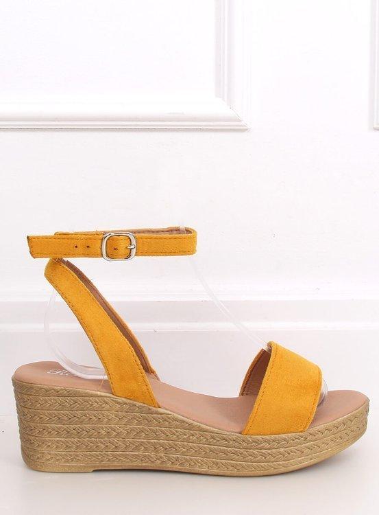 Sandałki na koturnie miodowe 019-18 YELLOW