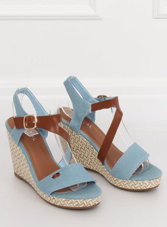 Sandałki na koturnie niebieski BL-360 BLUE