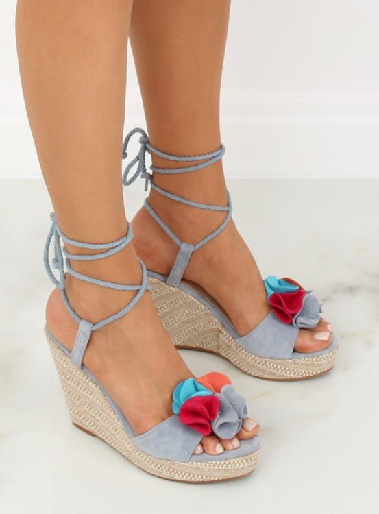 Sandałki na koturnie niebieskie YY27P BLUE