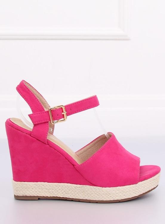 Sandałki na koturnie różowe FD-5M14 FUSCHIA