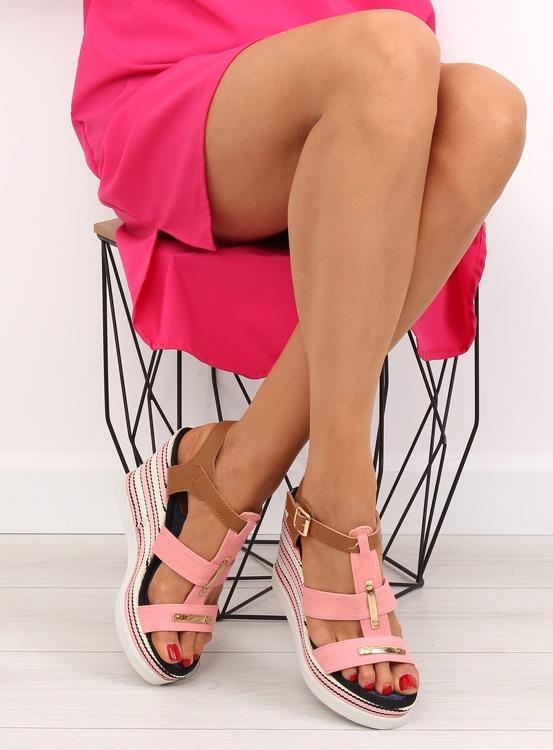 Sandałki na koturnie różowe YQ05 PINK