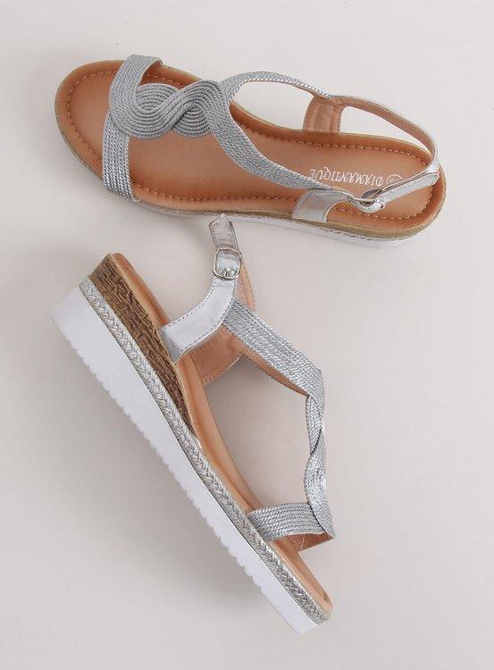 Sandałki na koturnie srebrne L6629 SILVER