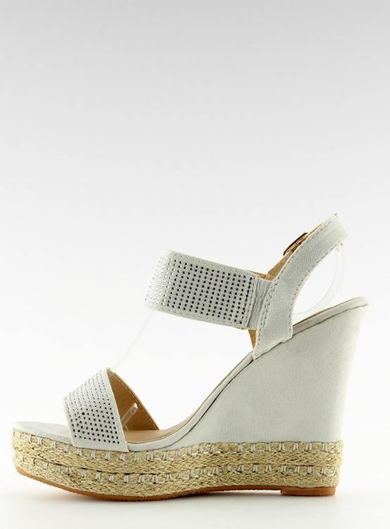Sandałki na koturnie szare 3811-7 GREY