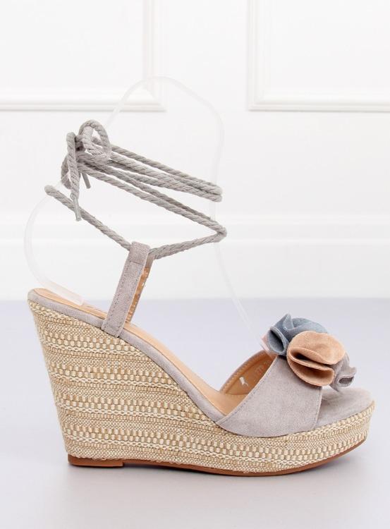 Sandałki na koturnie szare YY27P GREY