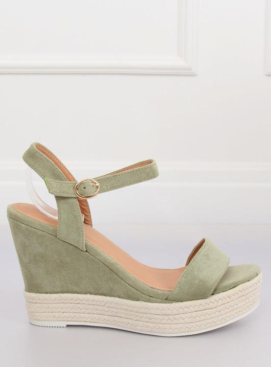 Sandałki na koturnie zielone JS-2952 DK.GREEN