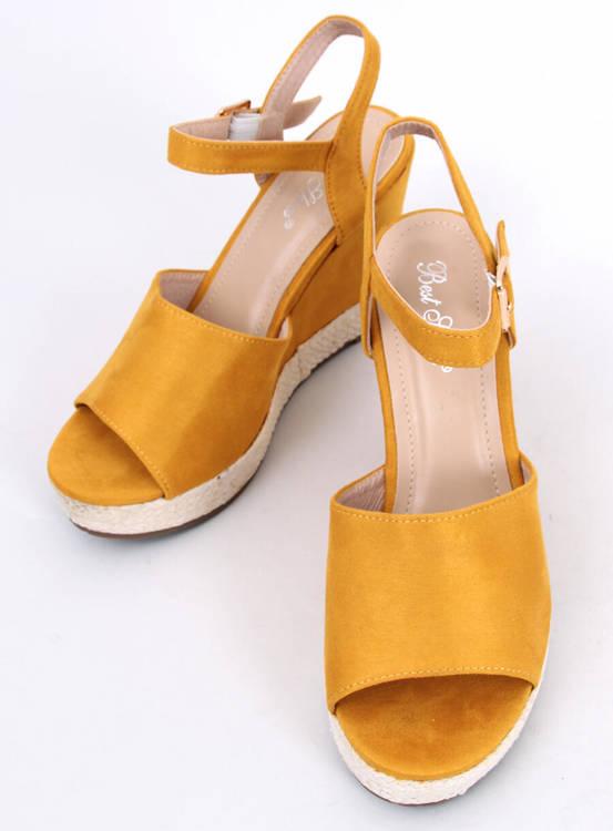 Sandałki na koturnie żółte FD-5M14 YELLOW
