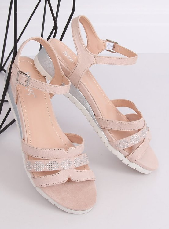 Sandałki na niskim koturnie beżowo-różowe NS113P NUDE