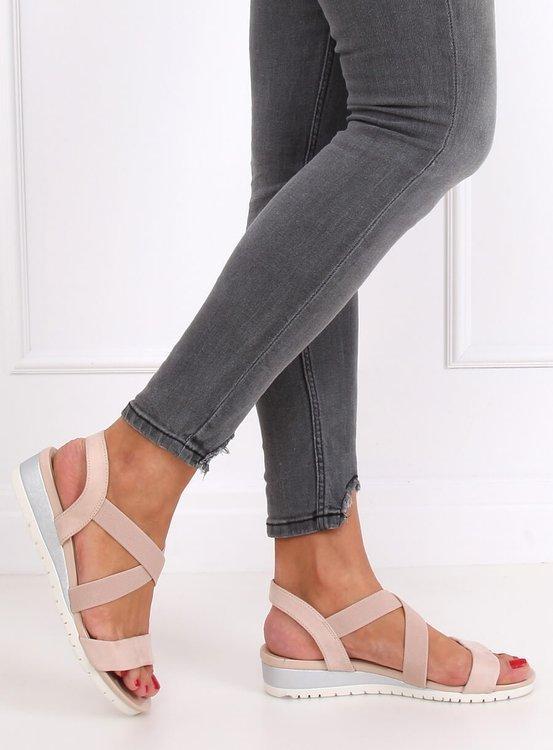 Sandałki na niskim koturnie beżowo-różowe NS116P NUDE