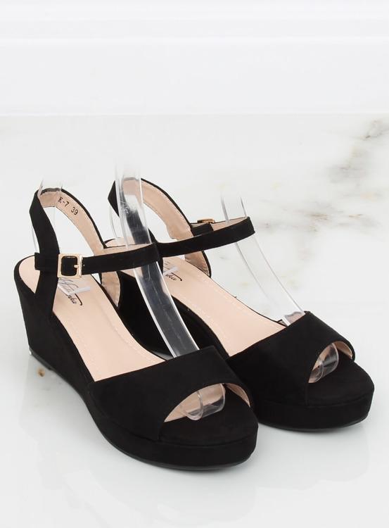 Sandałki na niskim koturnie czarne K-7 BLACK