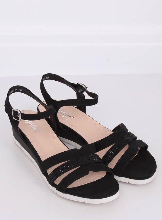 Sandałki na niskim koturnie czarne NS113P BLACK